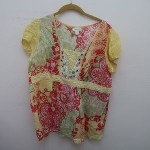 Dressbarn Red Yellow Floral Crochet Studded Top